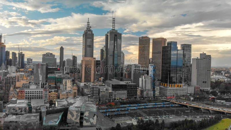 MELBOURNE, AUSTRALIE - 6 SEPTEMBRE 2018 : Vue aérienne de citysca photographie stock libre de droits