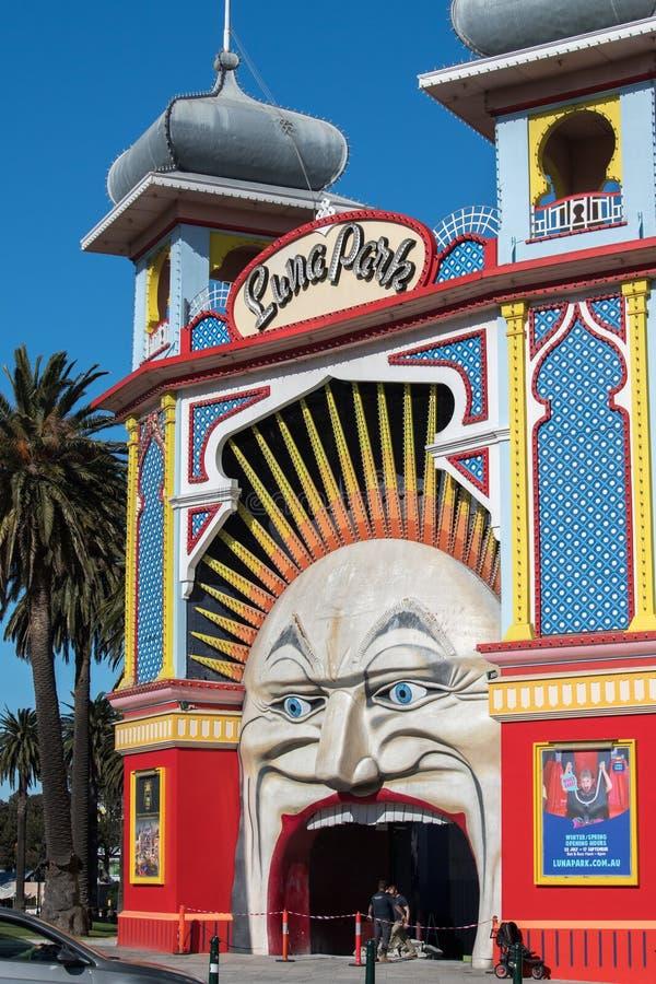 MELBOURNE, AUSTRALIEN - 16. August 2017 - Melbourne Luna Park lizenzfreies stockfoto