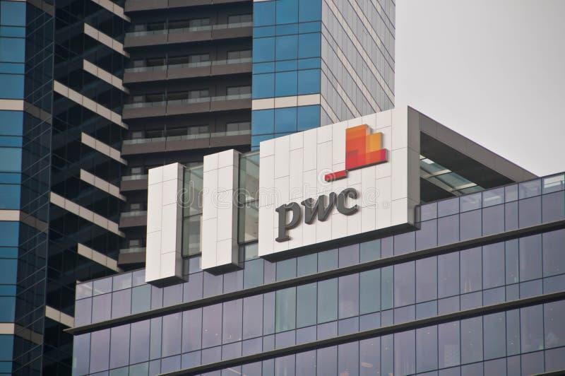 MELBOURNE, AUSTRALIEN - 30. JULI 2018: PwC-Hauptsitze, die in Melbourne Victoria Australia errichten lizenzfreies stockbild