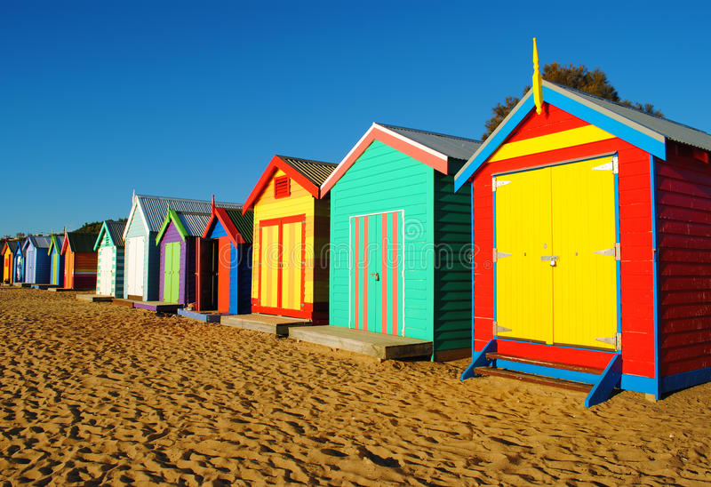 melbourne beach cabins stock photo image of colourful. Black Bedroom Furniture Sets. Home Design Ideas