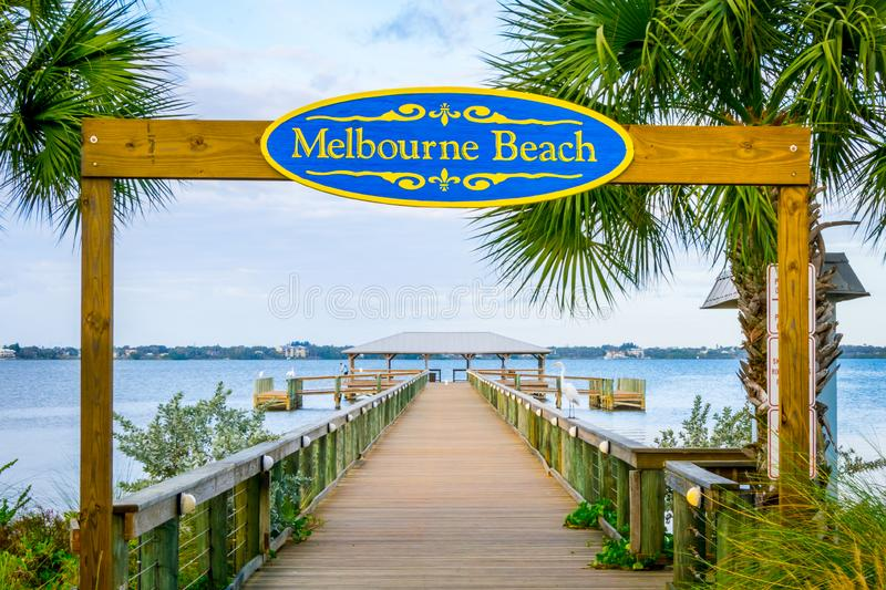 Melbourne Beach Florida Indian River Pier. Melbourne Beach, Florida, USA Historic Melbourne Beach Pier located on the Indian River royalty free stock photo