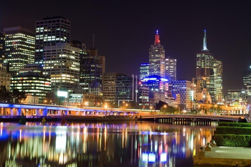 Melbourne bij nacht, Australië royalty-vrije stock foto