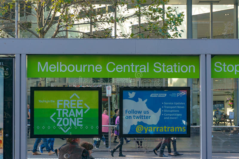 Melbourne Central Station Tram Stop In Free Tram Zone In Melbour