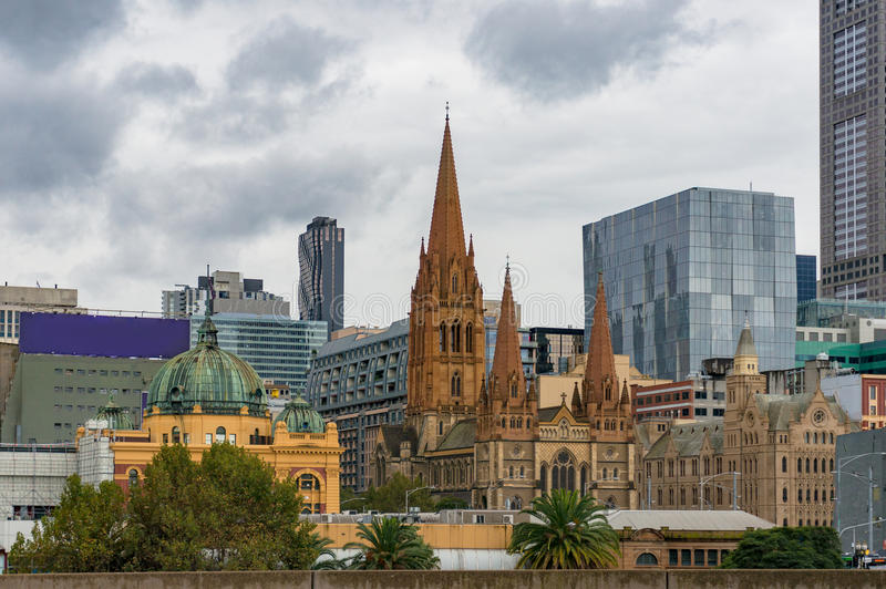 Melbourne centre cityscape and Flinders street station on rainy royalty free stock images