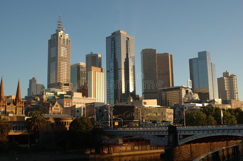 Melbourne City, Australia, at sunrise stock image