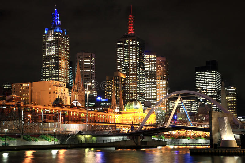 Download Melbourne City at Night stock image. Image of businesses - 14813673