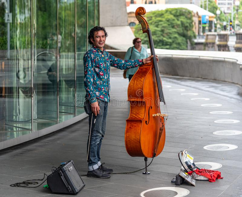 Melbourne city`s centre is the modern Federation Square development, with plazas, bars, and buskers stock photos