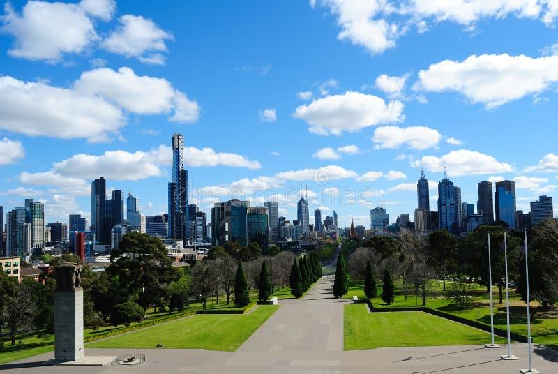 Melbourne city skyline royalty free stock photo