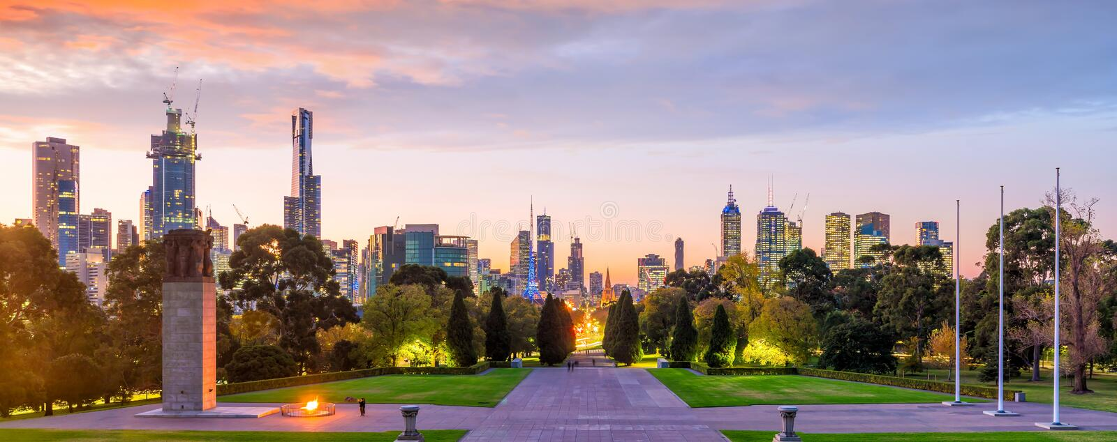 Melbourne city skyline at twilight in Australia royalty free stock photography