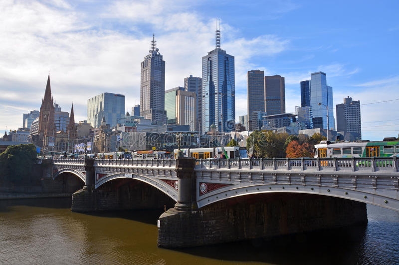 Melbourne City from South Bank. royalty free stock photography