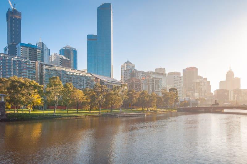 Melbourne cityscape with sunset sunshine at autumn. Australia stock photography