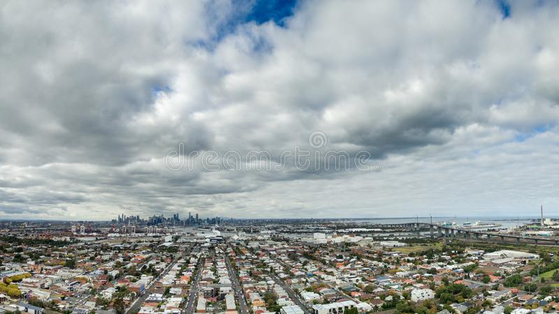 Melbourne cityscape with West Gate Bridge. Aerial view of Melbourne cityscape with West Gate Bridge royalty free stock photography