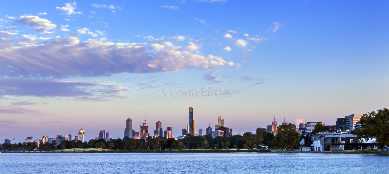 Melbourne Dawn Panorama stock afbeeldingen
