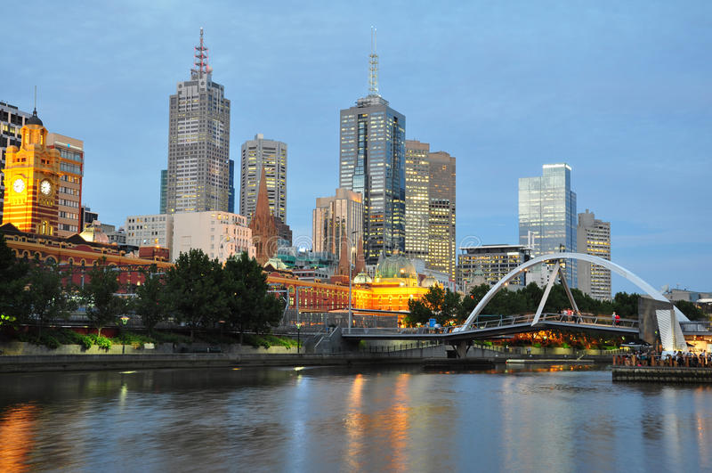 Melbourne at dusk royalty free stock photos