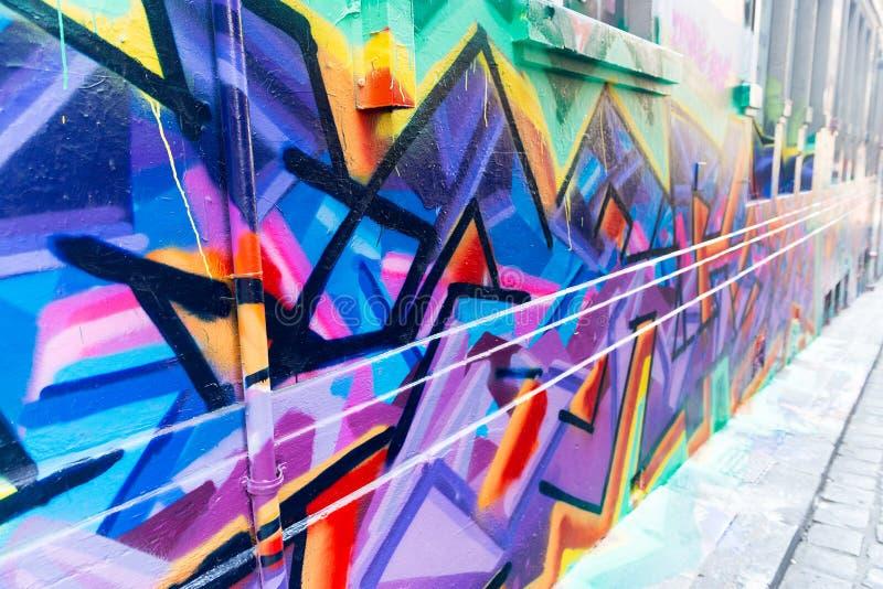 MELBOURNE - EM OUTUBRO DE 2015: Pista do Hosier a arte da rua de Melbourn fotografia de stock