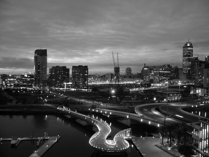Melbourne en la noche foto de archivo libre de regalías