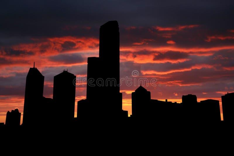 Melbourne en la puesta del sol stock de ilustración