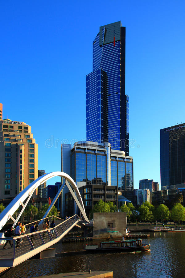 Melbourne - Eureka 89 Tower. Skyline of the city of Melbourne with the outstanding Eureka 89 Tower. The photo was taken from the opposite bank of Yarra River stock images