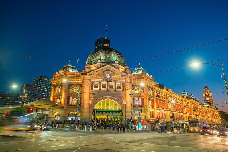 Melbourne Flinders Street Train Station in Australia. At sunset stock photos