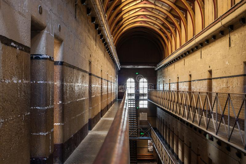 Melbourne Gaol. Between 1842 and its closure in 1929 the gaol was the scene of 133 hangings including Australia's most infamous citizen, the bushranger royalty free stock photo