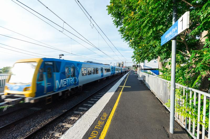 Melbourne Metro electric train at Victoria Park railway station in Abbotsford. Melbourne, Australia - January 7, 2019: Melbourne Metro suburban electric train at stock images