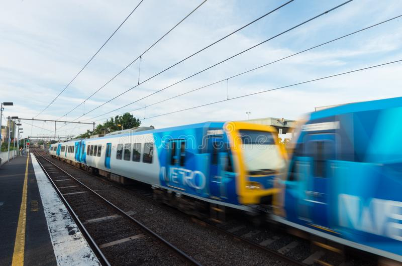 Melbourne Metro electric train at Victoria Park railway station in Abbotsford. Melbourne, Australia - January 7, 2019: Melbourne Metro suburban electric train at royalty free stock photography