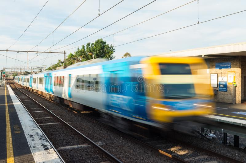 Melbourne Metro electric train at Victoria Park railway station in Abbotsford. Melbourne, Australia - January 7, 2019: Melbourne Metro suburban electric train at stock photo