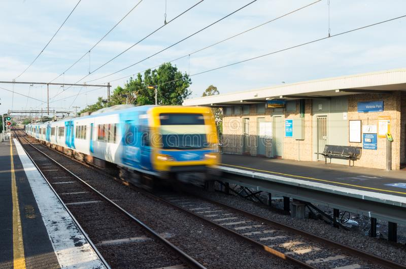 Melbourne Metro electric train at Victoria Park railway station in Abbotsford. Melbourne, Australia - January 7, 2019: Melbourne Metro suburban electric train at royalty free stock image