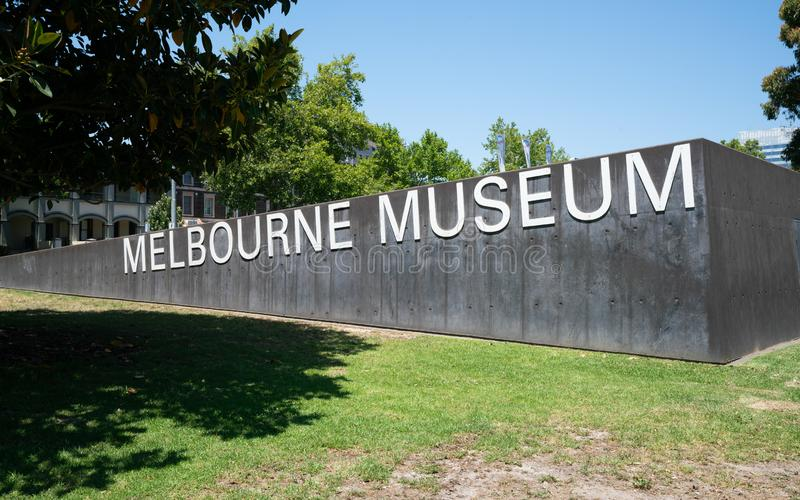 Melbourne Museum sign with name written on it in Melbourne Australia. Melbourne Museum sign with name written on it in Melbourne Vic Australia royalty free stock images