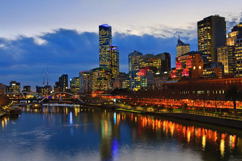 Download Melbourne at night stock image. Image of street, colourful - 17944869