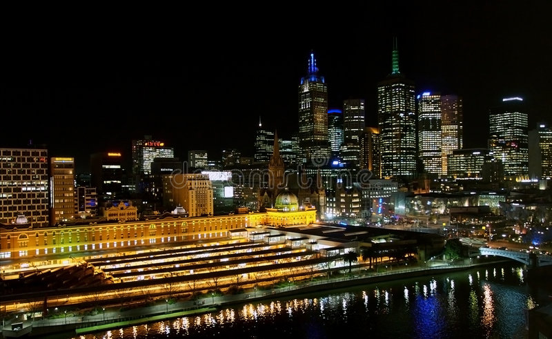 Download Melbourne Night Skyline stock photo. Image of skyscrapers - 4283576