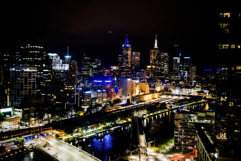 Melbourne at night stock photography