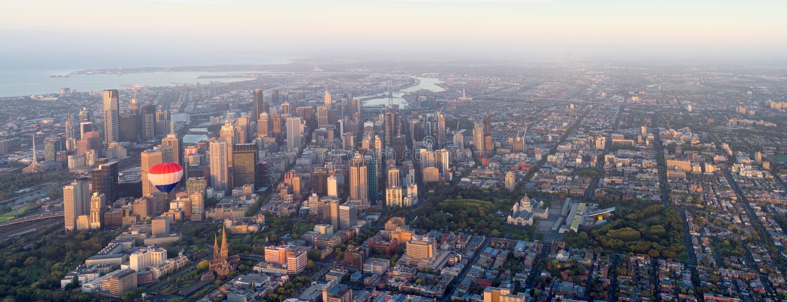 Melbourne overiew. Melbourne panorama from the air stock image