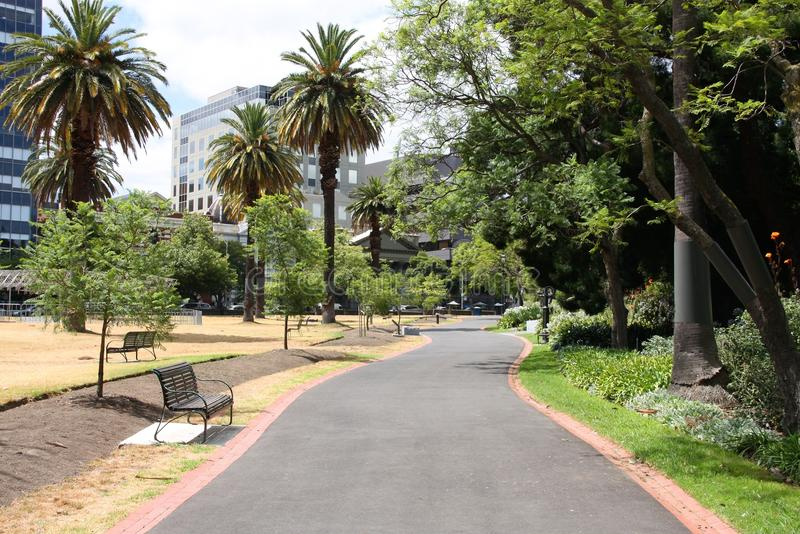 Melbourne park. Melbourne in Victoria state, Australia. Parliament Gardens, famous park and recreation area royalty free stock photo
