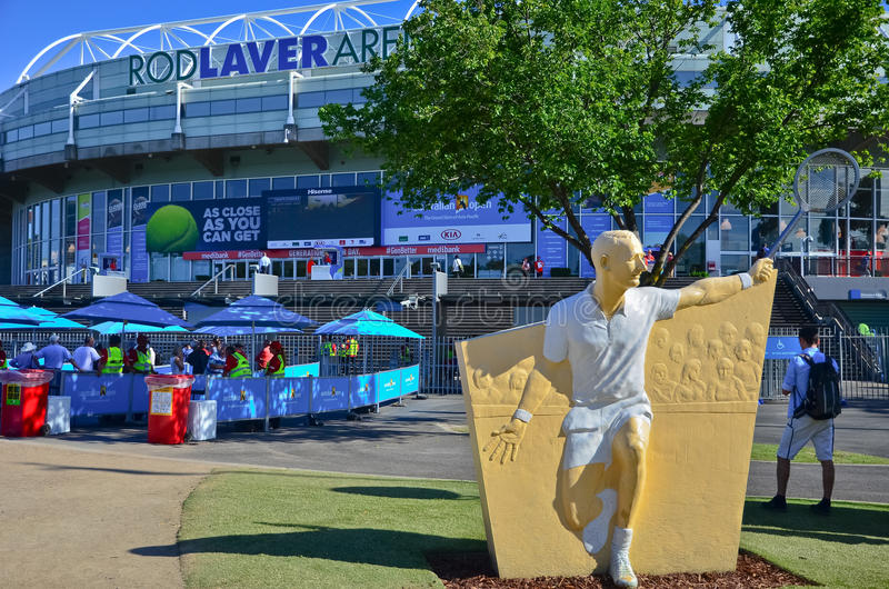 Melbourne Park at the Australian Open. MELBOURNE, AUSTRALIA - JANUARY 21: View of Melbourne Park at the Australian Open on January 21, 2015 with the Rod Laver royalty free stock photography