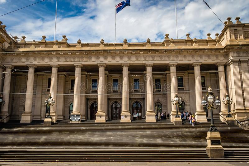 Melbourne-Parlamentsgebäude in Victoria, Australien, im Sommer stockfotografie