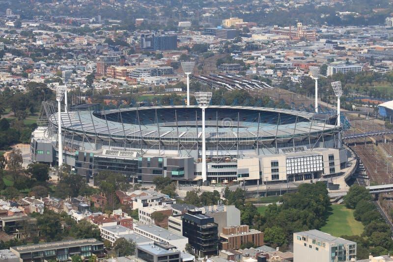 Melbourne pejzażu miejskiego Melbourne krykiet Zmielony Australia obrazy royalty free