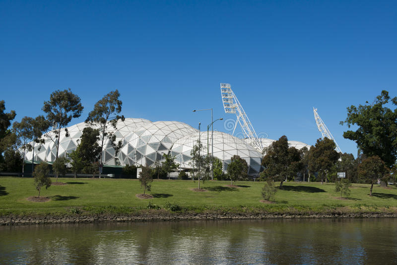 Melbourne Rectangular Stadium, AAMI Sport. Melbourne Rectangular Stadium known commercially also as AAMI Sport Stadium is situated on Olymic Boulevard in inner stock photo