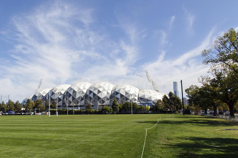 Melbourne Rectangular Stadium. Melbourne, Australia: April 09, 2018: The Melbourne Rectangular Stadium commercially known as AAMI Park is home to Melbourne Storm royalty free stock images