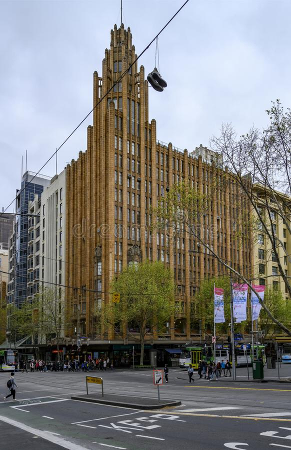 Melbourne's Iconic Manchester Unity Building royaltyfri foto