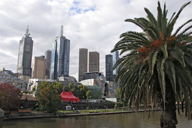 Download Melbourne skyline stock image. Image of australia, tree - 1451389