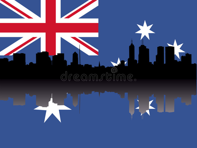 Melbourne Skyline With Flag Royalty Free Stock Photography