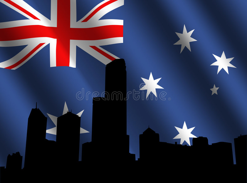Melbourne skyline and flag