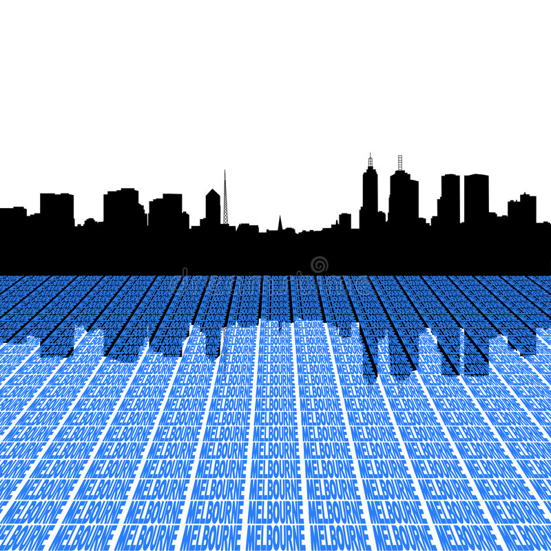 Melbourne Skyline With Text Royalty Free Stock Photos