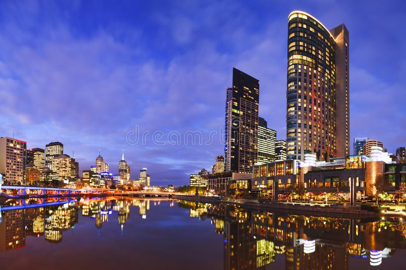 Melbourbe Skyline and Yarra River at Twilight Square. Melbourne skyline at twilight, reflecting in the Yarra River royalty free stock photos