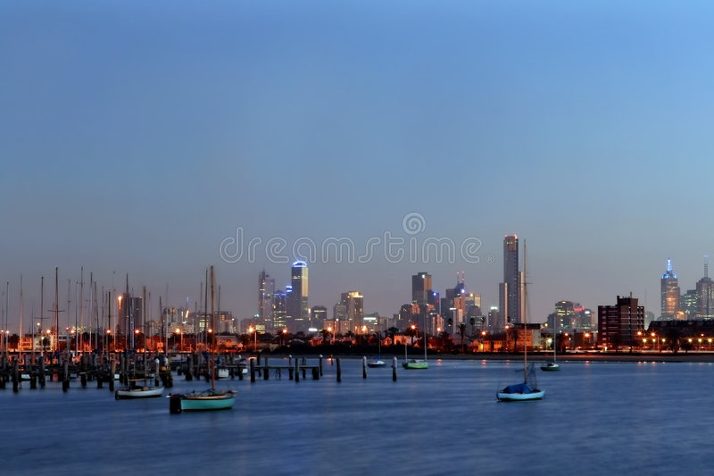 Melbourne from St Kilda royalty free stock photos