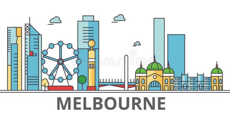 Melbourne stadshorisont, byggnader, gator, kontur, arkitektur, landskap, panorama, gränsmärken Redigerbara slaglängder royaltyfri illustrationer
