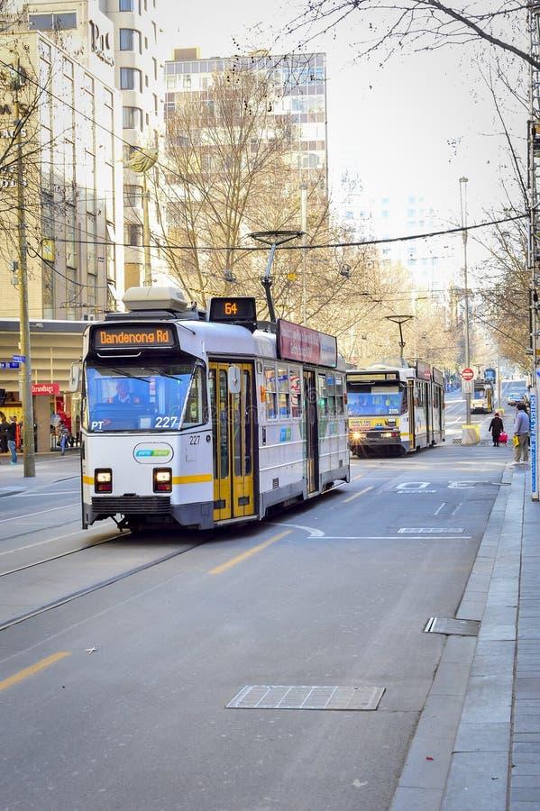 Melbourne-Stadt-Trams lizenzfreie stockbilder
