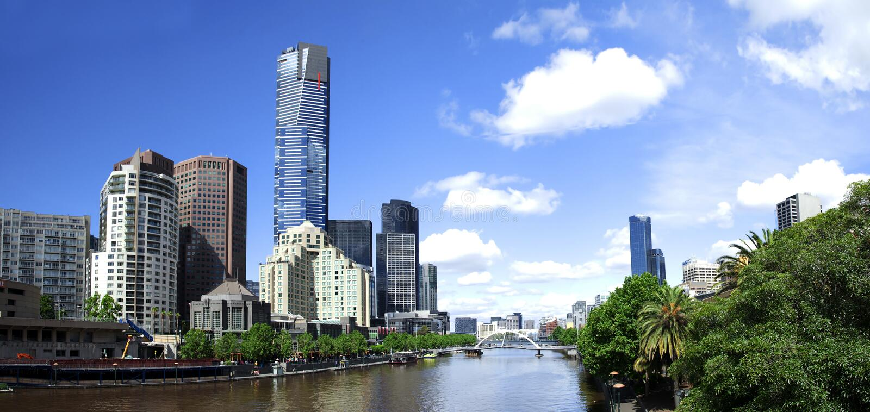 Melbourne-Stadtzentrum stockbilder