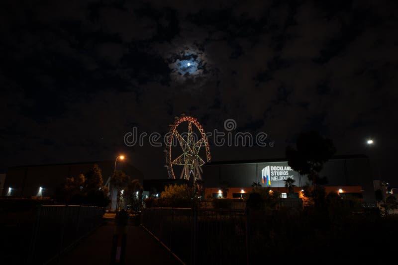 Melbourne stjärna och måne arkivfoto